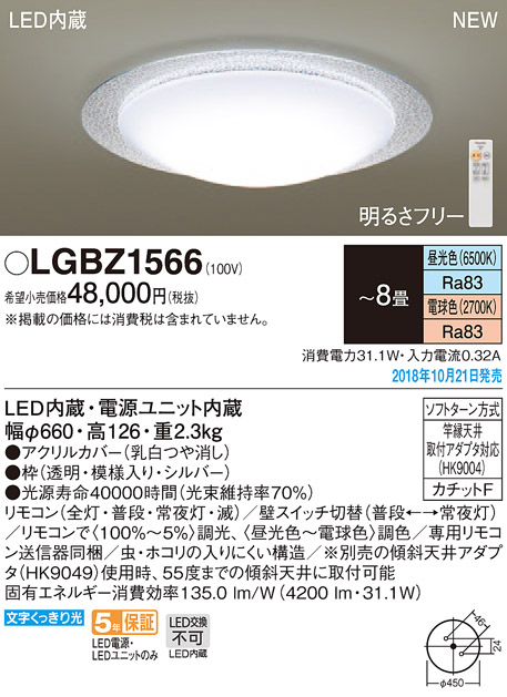 LGBZ1566 パナソニック Panasonic 照明器具 LEDシーリングライト スタンダード 調色調光タイプ 【~8畳】