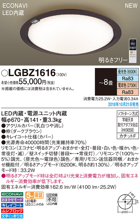LGBZ1616 パナソニック Panasonic 照明器具 LEDシーリングライト ECONAVI 調色調光タイプ 【~8畳】