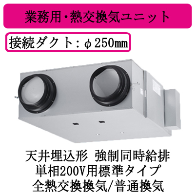 FY-800ZD10S パナソニック Panasonic 業務用・熱交換気ユニット 天井埋込形 単相200V用標準タイプ FY-800ZD10S