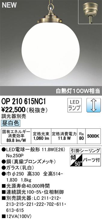 OP210615NC1 オーデリック 照明器具 LEDペンダントライト 昼白色 調光可 白熱灯100W相当