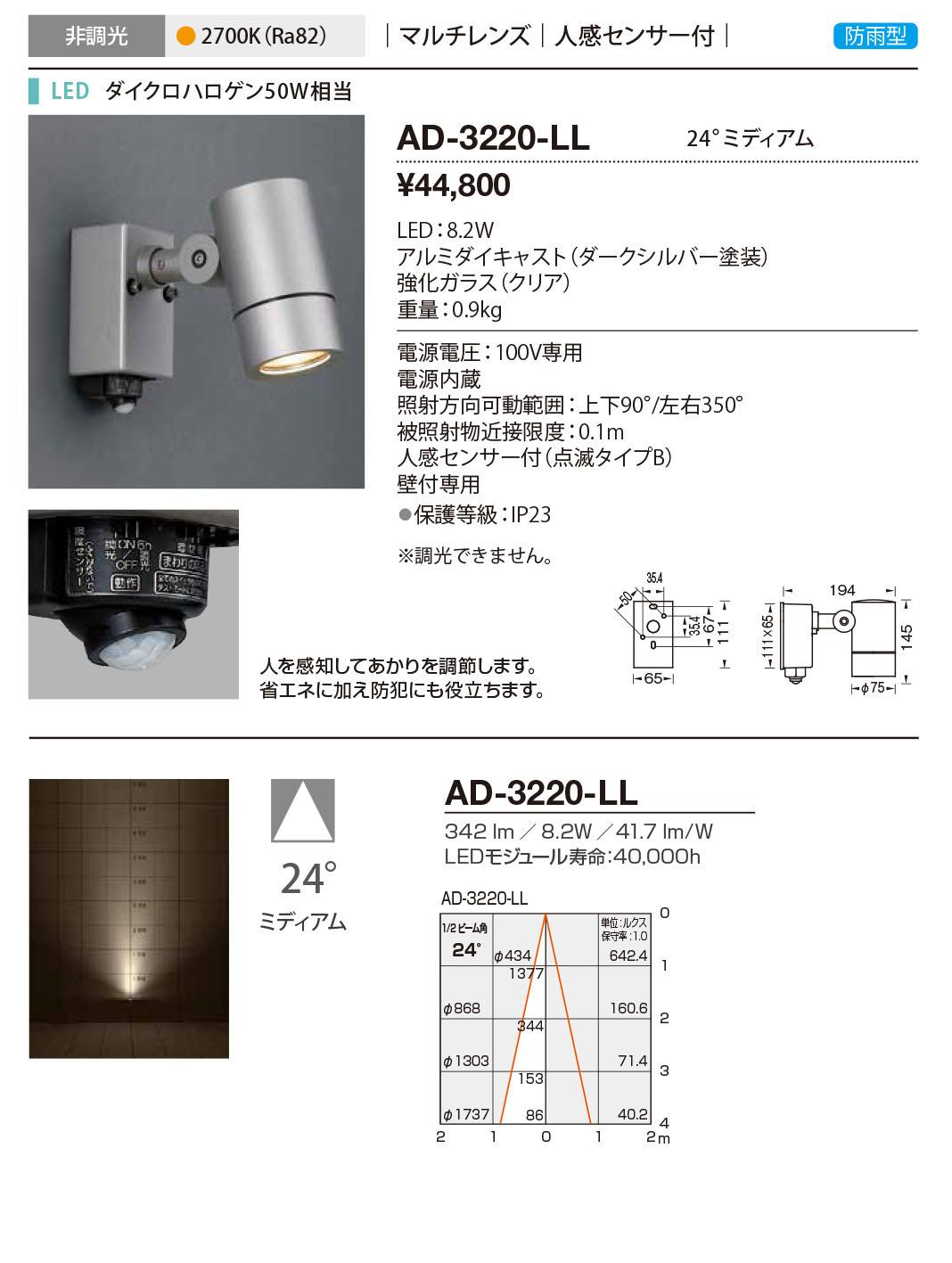 AD-3220-LL 山田照明 照明器具 エクステリア LED一体型スポットライト ディマブル75 非調光 マルチレンズ 人感センサー付 防雨型 ミディアム ダイクロハロゲン50W相当 電球色 AD-3220-LL