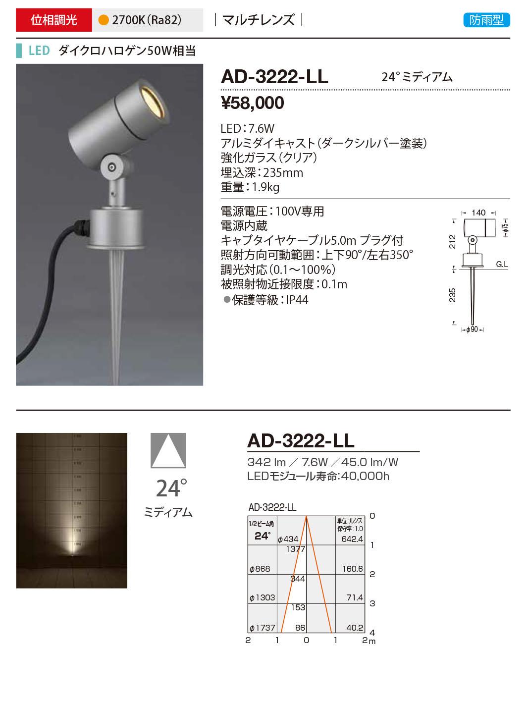 AD-3222-LL 山田照明 照明器具 エクステリア LED一体型スポットライト ディマブル75 調光 マルチレンズ 防雨型 ミディアム ダイクロハロゲン50W相当 電球色 AD-3222-LL