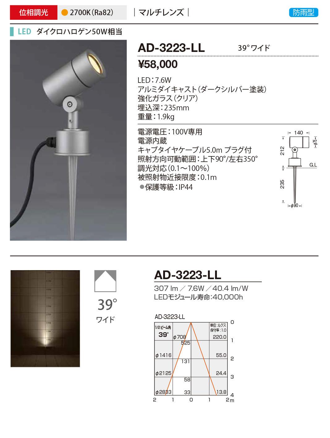 AD-3223-LL 山田照明 照明器具 エクステリア LED一体型スポットライト ディマブル75 調光 マルチレンズ 防雨型 ワイド ダイクロハロゲン50W相当 電球色 AD-3223-LL