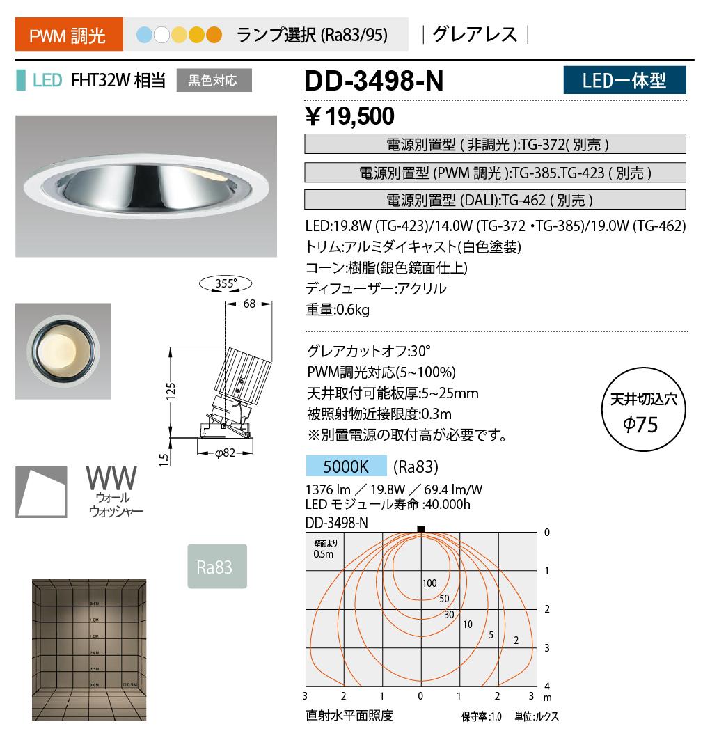 DD-3498-N 山田照明 照明器具 LED一体型ダウンライト ウォールウォッシャー Unicorn NEO 75 調光 グレアレス FHT32W相当 昼白色 DD-3498-N