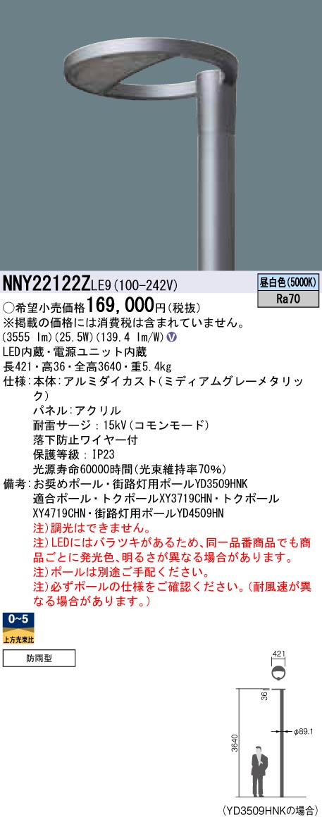 NNY22122ZLE9 パナソニック Panasonic 施設照明 LEDモールライト 昼白色 ポール取付型 ワイド配光 防雨型 パネル付型 水銀灯100形1灯器具相当 NNY22122ZLE9