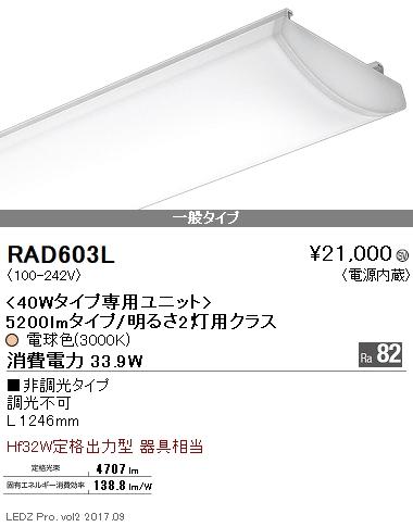 RAD603L 遠藤照明 施設照明 LEDZ SDシリーズ メンテナンスユニット 40Wタイプ 5200lmタイプ/明るさ2灯用クラス 一般タイプ Ra82 電球色 非調光 RAD-603L