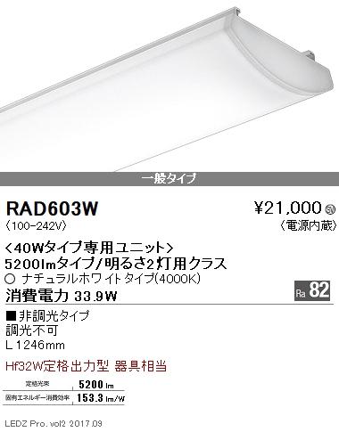 RAD603W 遠藤照明 施設照明 LEDZ SDシリーズ メンテナンスユニット 40Wタイプ 5200lmタイプ/明るさ2灯用クラス 一般タイプ Ra82 ナチュラルホワイト 非調光 RAD-603W