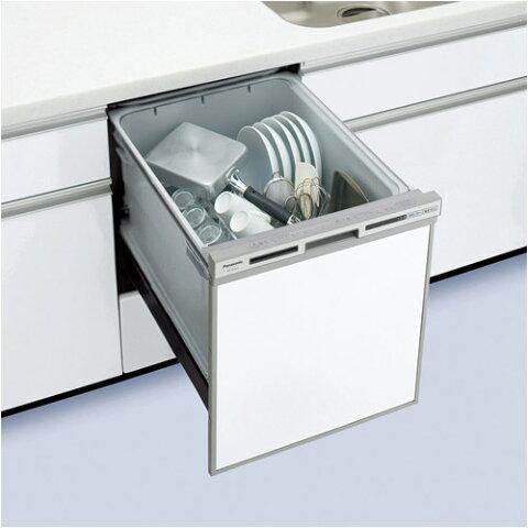 ●NP-45VS7S パナソニック Panasonic ビルトイン食器洗い乾燥機 ミドルタイプ V7シリーズ 奥行65cm 幅45cm ドアパネル型(シルバー)