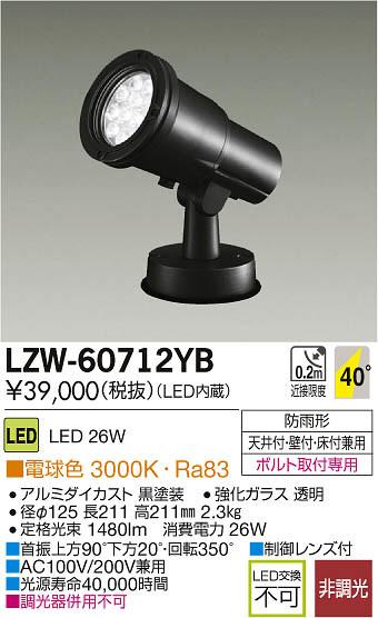大光電機 施設照明アウトドア LEDハイパワースポットライトLZ2 電球色LZW-60712YB【LED照明】