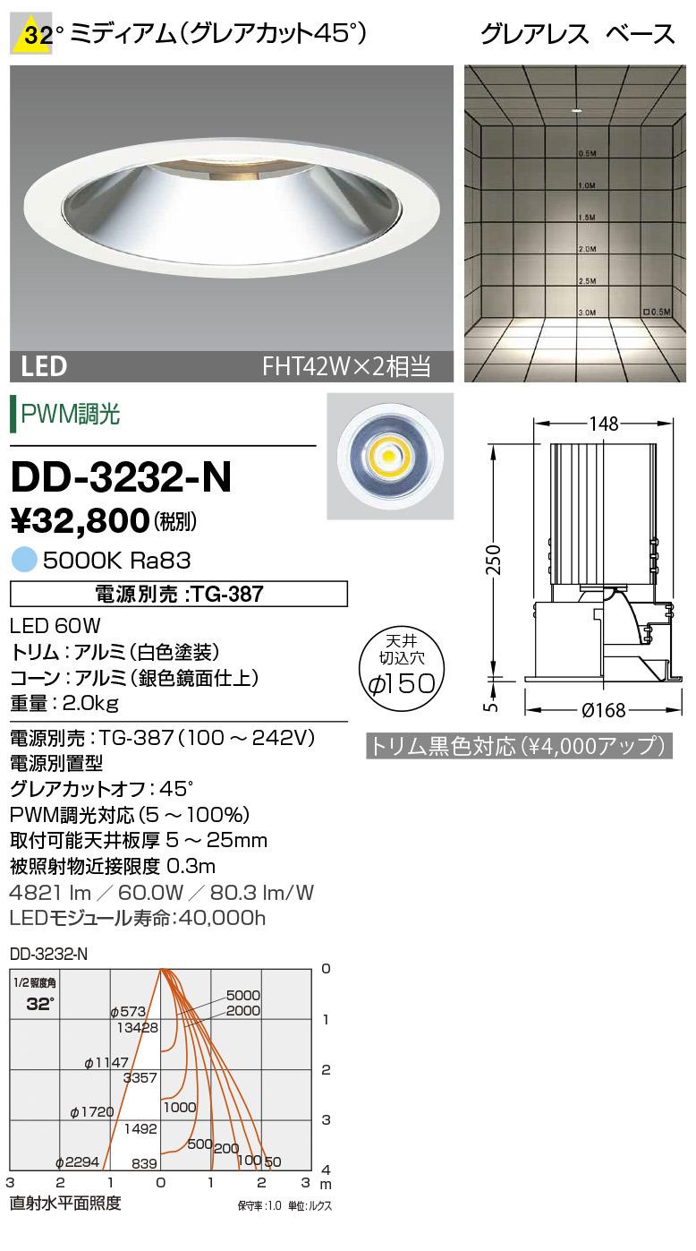 山田照明 照明器具LED一体型ダウンライト ユニコーンプラスφ150調光 ベースタイプ ミディアム グレアレス FHT42W×2相当 昼白色DD-3232-N