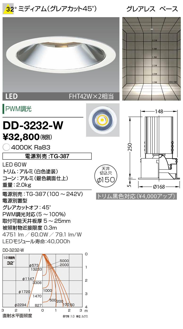 山田照明 照明器具LED一体型ダウンライト ユニコーンプラスφ150調光 ベースタイプ ミディアム グレアレス FHT42W×2相当 白色DD-3232-W