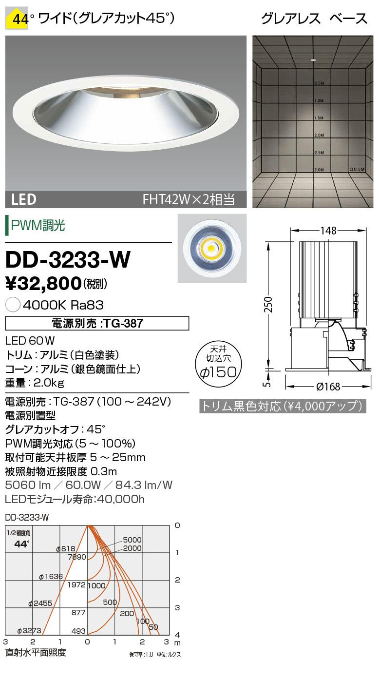 山田照明 照明器具LED一体型ダウンライト ユニコーンプラスφ150調光 ベースタイプ ワイド グレアレス FHT42W×2相当 白色DD-3233-W