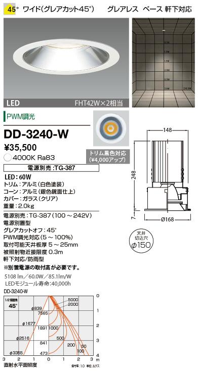 山田照明 照明器具LED一体型軒下用ダウンライト ユニコーンプラス調光 防雨型 ワイド グレアレス FHT42W×2相当 白色DD-3240-W