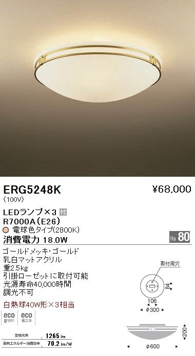 遠藤照明 照明器具LEDシーリングライト 白熱球40W形×3相当ERG-5248K
