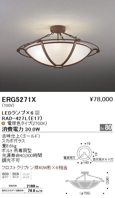 遠藤照明 照明器具LEDシーリングライト フロストクリプトン球40W形×6相当ERG-5271X
