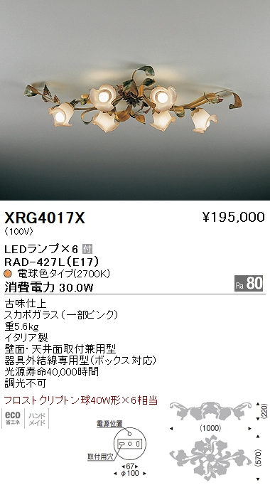遠藤照明 照明器具AbitaExcel LEDシャンデリアライト フロストクリプトン球40W形×6相当XRG-4017X