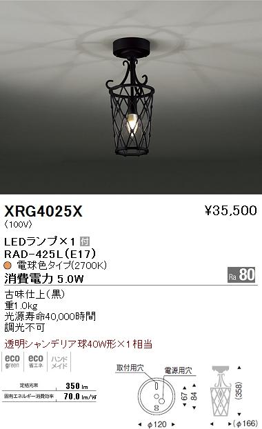 遠藤照明 照明器具AbitaExcel LEDシーリングライト 透明シャンデリア球40W×1相当XRG-4025X