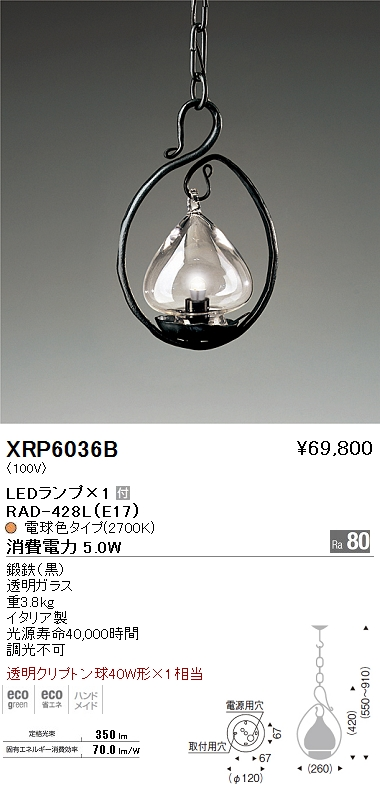遠藤照明 照明器具AbitaExcel LEDペンダントライト 透明クリプトン球40W形×1相当XRP-6036B