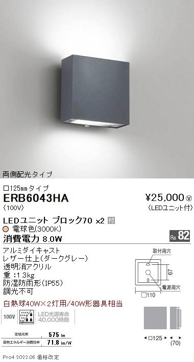遠藤照明 施設照明LEDアウトドアブラケットライト STYLISH LEDZシリーズ両側配光タイプ 白熱球40W×2灯用器具相当 非調光 電球色ERB6043HA