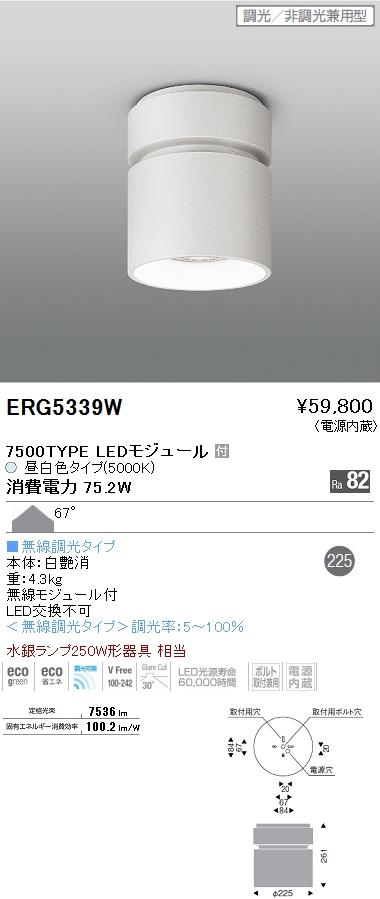 遠藤照明 施設照明LEDシーリングダウンライト HIGH-BAYシリーズ7500タイプ 水銀ランプ250W相当 67° Smart LEDZ 無線調光対応 昼白色ERG5339W