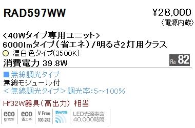 遠藤照明 施設照明LEDZ SDシリーズ メンテナンスユニット40Wタイプ 6000lmタイプ/明るさ2灯用クラス(長1220)一般タイプ Ra82 温白色 無線調光対応RAD597WW