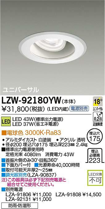大光電機 施設照明軒下ユニバーサルダウンライト 埋込175LZ4C HID70Wタイプ 18°中角形電球色 調光 防湿防雨形LZW-92180YW