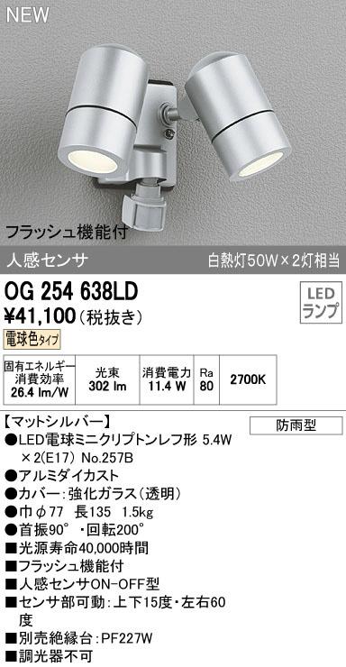 OG254638LDエクステリア LEDスポットライト フラッシュ機能付電球色 防雨型 人感センサ付 白熱灯50W×2灯相当オーデリック 照明器具 アウトドアライト