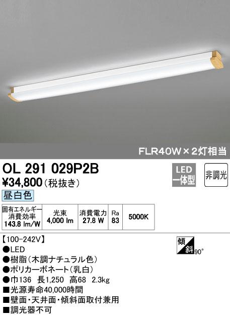 オーデリック 照明器具LEDブラケットライト・キッチンライト昼白色 FLR40W×2灯相当 非調光OL291029P2B