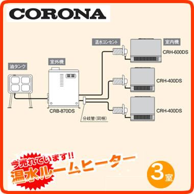 ★【今なら限定大特価!】コロナ 温水ルームヒーター 暖DAYBOYCRB-870DSセット3部屋用 銅配管接続