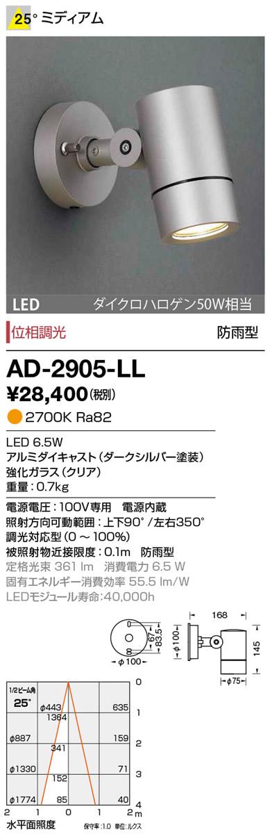 山田照明 照明部材エクステリア LED一体型スポットライト ディマブル75ミディアム 電球色 調光 ダイクロハロゲン50W相当 防雨型AD-2905-LL