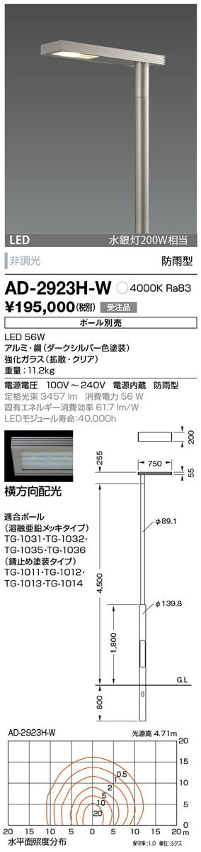 山田照明 照明器具エクステリア LED一体型ポールライト モノリス灯具のみ 横方向配光 非調光白色 水銀灯200W相当 防雨型AD-2923H-W