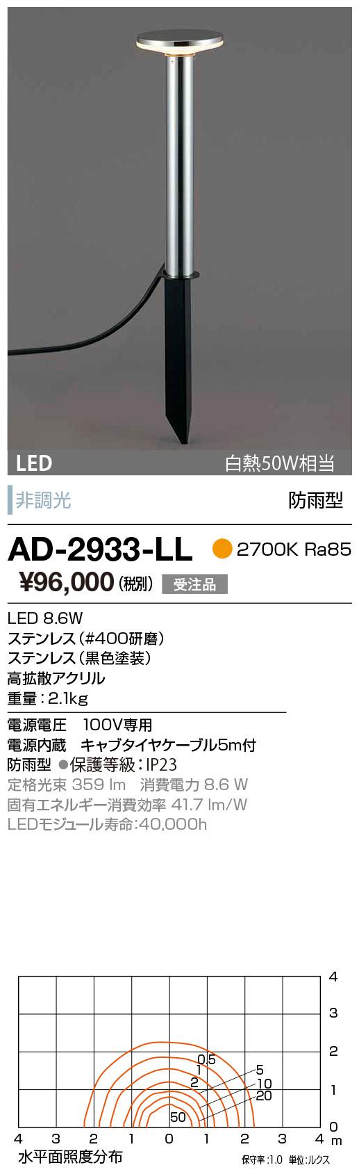 山田照明 照明器具エクステリア LED一体型スーパースリムガーデンライト下方配光 電球色 白熱50W相当非調光 防雨型AD-2933-LL
