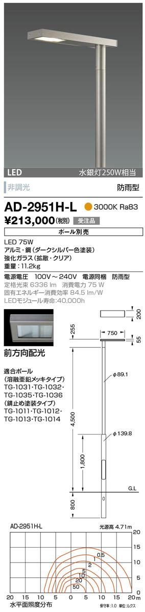 山田照明 照明器具エクステリア LED一体型ポールライト モノリス灯具のみ 前方向配光 非調光電球色 水銀灯250W相当 防雨型AD-2951H-L
