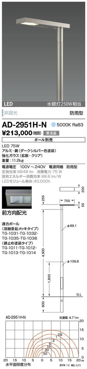 山田照明 照明器具エクステリア LED一体型ポールライト モノリス灯具のみ 前方向配光 非調光昼白色 水銀灯250W相当 防雨型AD-2951H-N