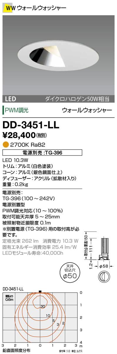 山田照明 照明器具LED一体型ダウンライト Line50調光 ウォールウォッシャー電球色 ダイクロハロゲン50W相当DD-3451-LL