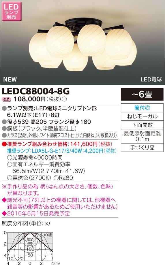 東芝ライテック 照明器具LEDシャンデリア 8灯 非調光LEDC88004-8G