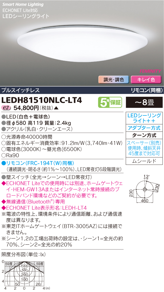 東芝ライテック 照明器具HEMS対応 高演色LEDシーリングライトFEMINITY 調光・調色 <キレイ色-kireiro->LEDH81510NLC-LT4【~8畳】