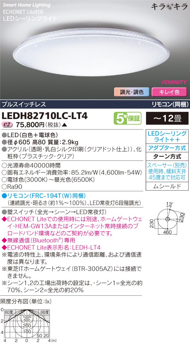 東芝ライテック 照明器具HEMS対応 高演色LEDシーリングライト キラキラFEMINITY 調光・調色 <キレイ色-kireiro->LEDH82710LC-LT4
