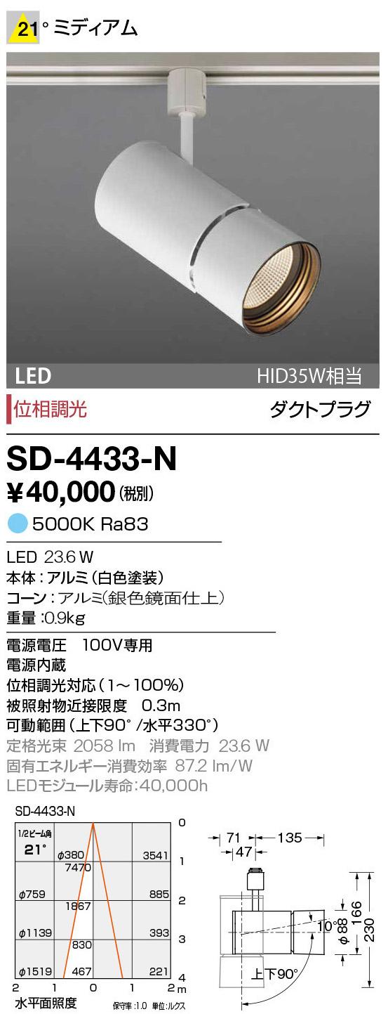 山田照明 照明器具LED一体型スポットライト エムズ ダクトプラグ調光 昼白色 HID35W相当SD-4433-N