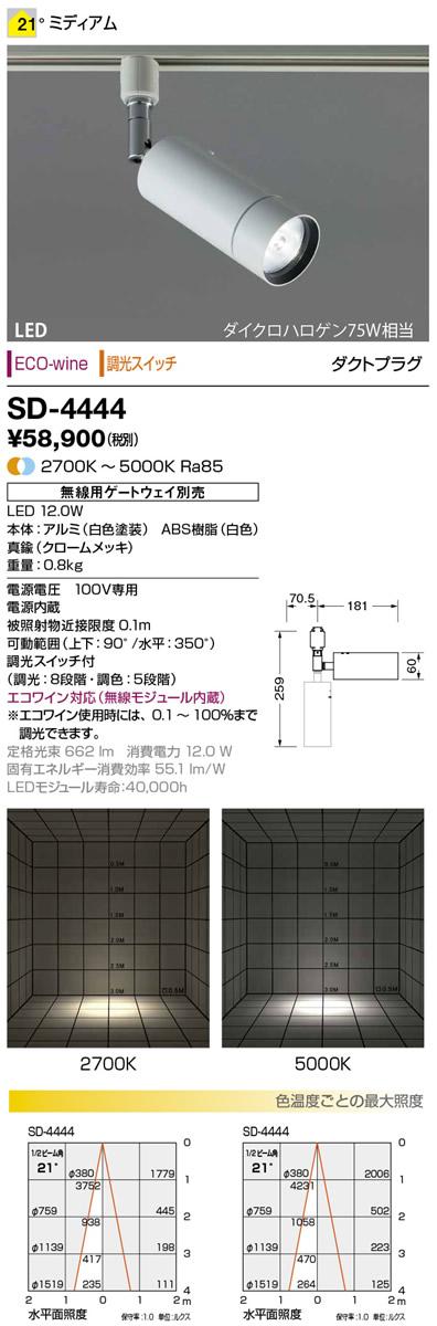 山田照明 照明器具LED一体型スポットライト ダクトプラグECO-wine 無線制御 調光調色ダイクロハロゲン75W相当 スイッチ付SD-4444