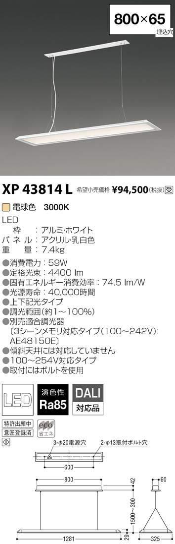 コイズミ照明 施設照明cledy LPシリーズ LEDベースライトペンダントタイプ 電球色 FLR40W×2クラス 調光XP43814L