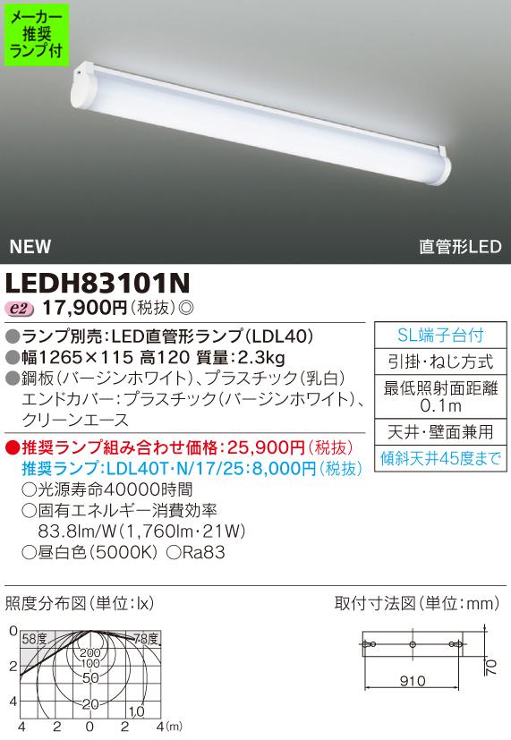 ◆東芝ライテック 照明器具LEDキッチンライト 直付型 本体LEDH83101N (推奨ランプセット)