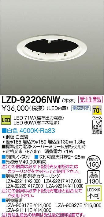 大光電機 施設照明LEDスーパーミラー反射板ダウンライト 本体LZ6C CDM-TP150W相当70° COBタイプ 白色 調光LZD-92206NW