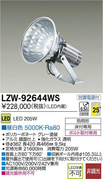 大光電機 施設照明LEDハイパワー投光器昼白色 水銀灯1kW相当 非調光LZW-92644WS
