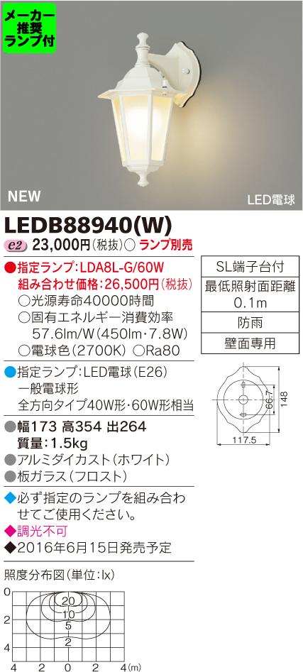 ◆東芝ライテック 照明器具アウトドアライト LED電球 ポーチ灯LEDB88940(W) (推奨ランプセット)