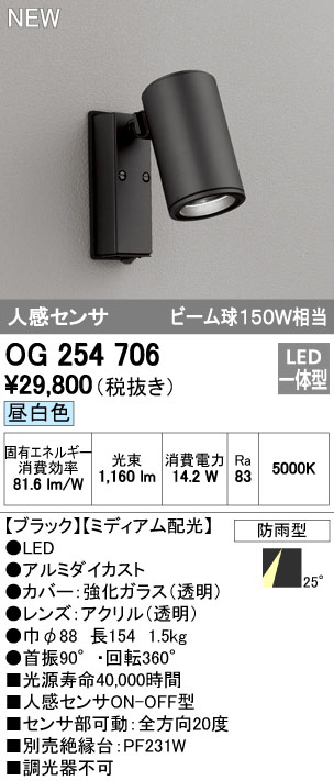 オーデリック 照明器具エクステリア LEDスポットライト 人感センサビーム球150W相当 COB 昼白色 ミディアム配光OG254706