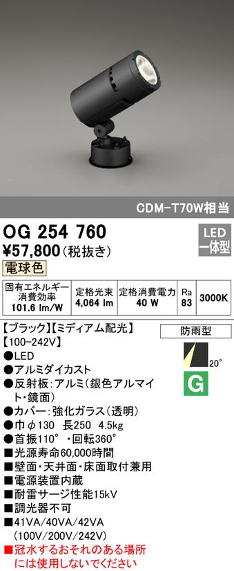 オーデリック 照明器具エクステリア ハイパワーLED投光器CDM-T 70Wクラス 電球色 ミディアム配光OG254760