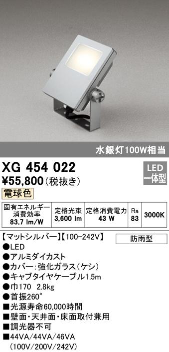 オーデリック 照明器具エクステリア LED投光器電球色 水銀灯100W相当XG454022