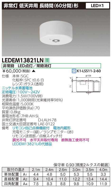 東芝ライテック 施設照明非常用照明器具 低天井用 直付長時間 13形 LEDリモコン自己点検機能付 非調光LEDEM13821LN