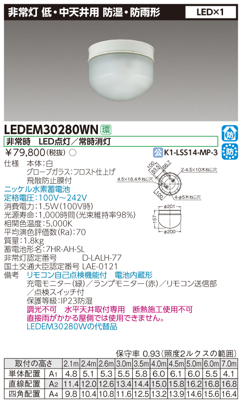 東芝ライテック 施設照明非常用照明器具 低天井用 直付防湿・防雨 30形 LEDリモコン自己点検機能付 非調光LEDEM30280WN